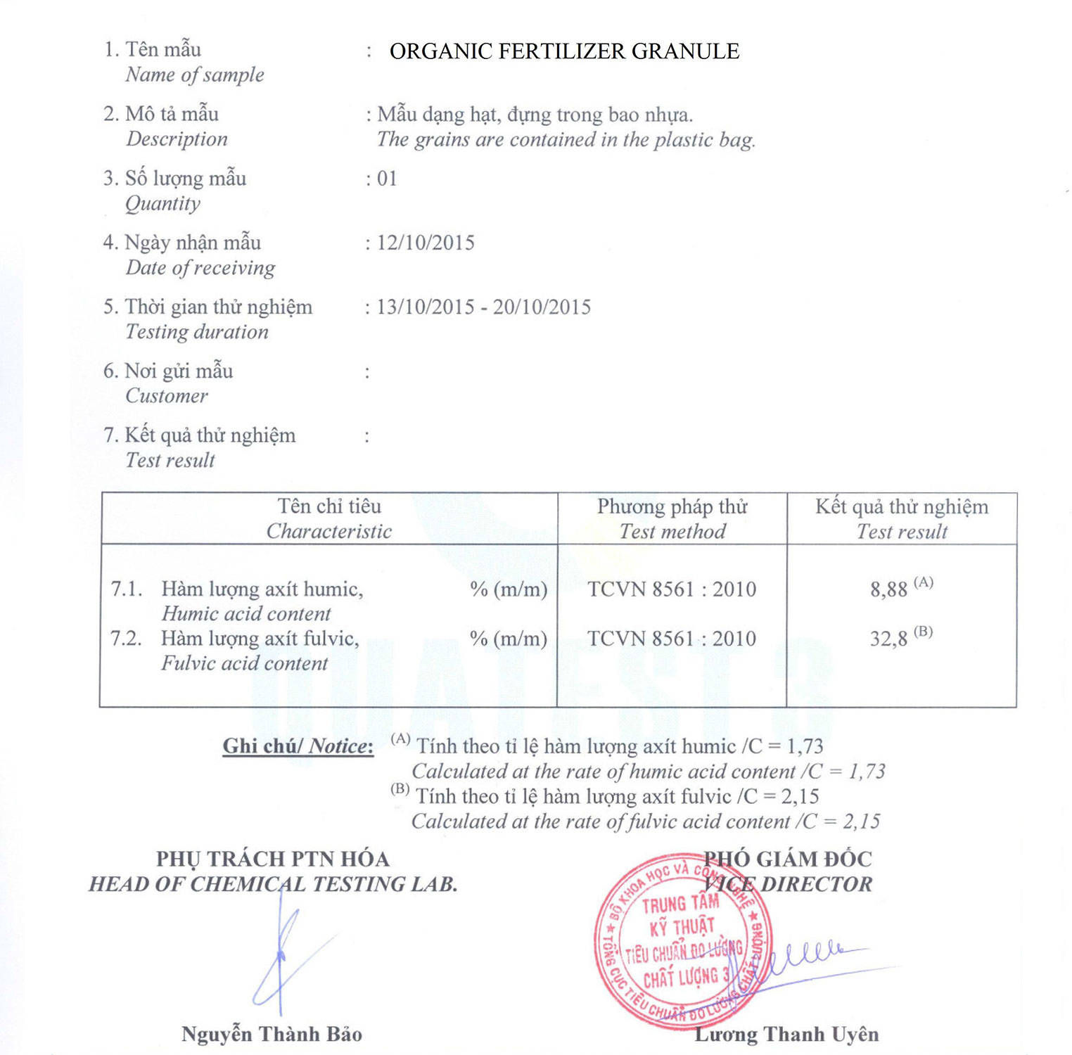 Humic Fulvic Fertilizer Test Report